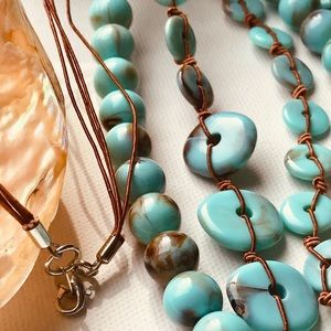 Jewelry - THREE STRAND TURQUOISE BEAD/CORD BOHO NECKLACE